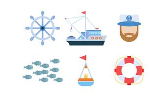 Free Outstanding Set of Fishing Vectors
