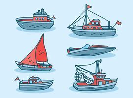 Vector de barco de arrastre dibujado a mano