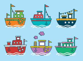 Colored Trawler Boat Vector
