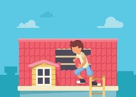 Worker Changing Roof Tile vector