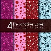 Vier dekorative Liebe Seamless Vector Patterns