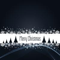 schwarzer Weihnachtshintergrund mit Schneeflockenvektor