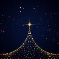 design de cartão de árvore de Natal de brilhos criativos