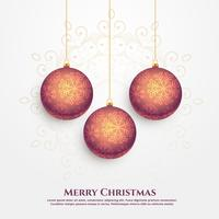 premium merry christmas vector design with hanging balls