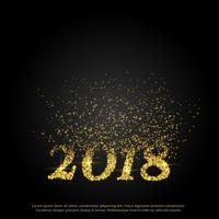 nieuw jaar 2018 tekst gemaakt met deeltjes barsten naar boven