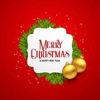 glatt jul hälsningskort design med gyllene bollar och lämnar