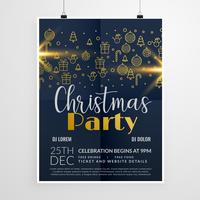dark merry christmas party event flyer poster design template
