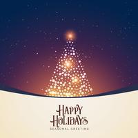 Escena nocturna de invierno hermosa con brillante diseño de árbol de navidad