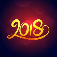 2018 new year golden swirl text effet design