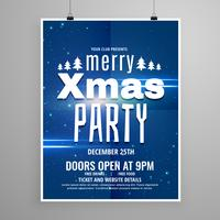 stijlvolle blauwe vrolijke kerst flyer ontwerpsjabloon met vakantie