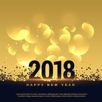 premium 2018 hieuw jaar wenskaart ontwerp in gouden stijl