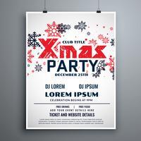 Plantilla de diseño de folleto de Navidad con copos de nieve rojos y negros