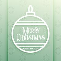 elegante bola de natal com desejos de feliz natal