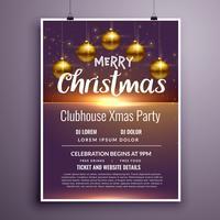 elegante vrolijk kerstfeest flyer uitnodiging sjabloonontwerp