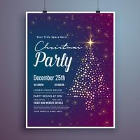 christmas invitation party card template design with creative tr