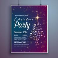Diseño de plantilla de tarjeta de invitación de Navidad fiesta con tr creativo