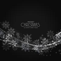 snygg mörk jul snöflingor bakgrund med våg effekt