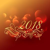 Elegante diseño de felicitación de año nuevo 2018 con decoración floral.