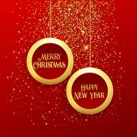 hängender Weihnachtskugelrahmen mit goldenem Funkeln