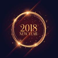 Marco de año nuevo brillante 2018 con fondo de destellos