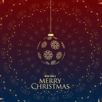 Saludo de lujo premium feliz Navidad con bolas colgantes