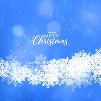 beautiful blue merry christmas snowflakes background