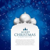 Elegante diseño azul feliz navidad con bolas plateadas