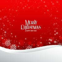 Elegante fondo de saludo de feliz Navidad rojo con copos de nieve