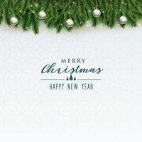 élégant fond joyeux Noël avec des boules d'argent