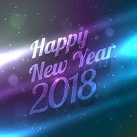 feliz ano novo 2018 backgorund com efeito de luz colorido