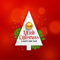 creative christmas festival background with tree and hanging bal