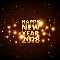 Feliz año nuevo diseño de tarjeta 2018 con destellos brillantes