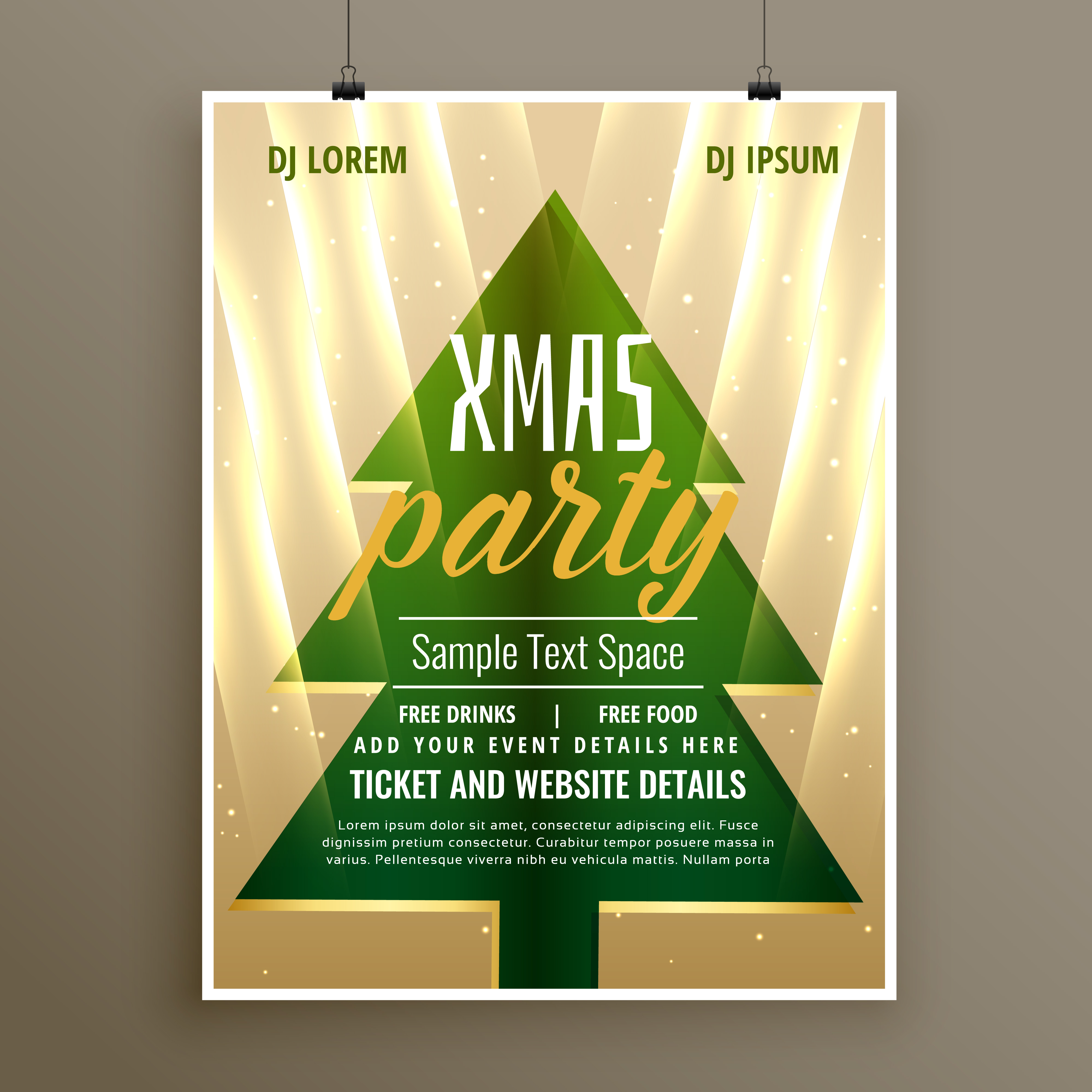 stylish template flyer design for christmas party - Kostenlose ...
