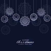 dark merry christmas background with hanging balls