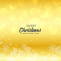 Fondo de oro feliz Navidad premium con copos de nieve