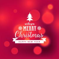 Elegante fondo rojo feliz navidad con efecto bokeh