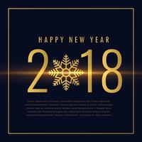 Frohes neues Jahr 2018 Text in goldenen Stil geschrieben