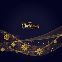 Fondo ondulado oscuro de copos de nieve de oro para el festival de Navidad
