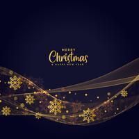 gyllene snöflingor mörk vågig bakgrund för julfestival