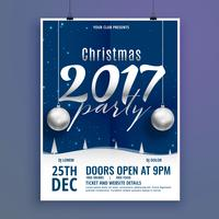 beautiful christmas poster flyer design template with hanging ba