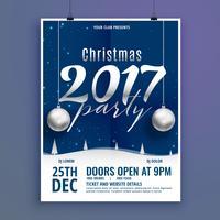 Hermosa plantilla de diseño de flyer cartel de Navidad con ba colgando