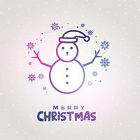 conception de bonhomme de neige faite avec des lignes avec fond de flocons de neige
