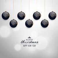 elegant hanging christmas balls vector background