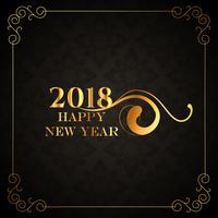 goldenes Hintergrunddesign des Luxusart 2018 des guten Rutsch ins Neue Jahr