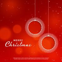 merry christmas red background with ornamental xmas ball