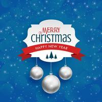 Fondo de feliz Navidad con bolas colgantes de plata