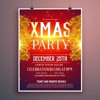 Elegante diseño de flyer fiesta de Navidad con hojas de abeto dorado