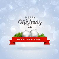 merry christmas festival greeting with silver ball and leaves