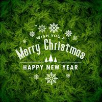 impresionante fondo de felicitación navideña hecho con hojas de abeto