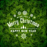 awesome christmas greeting background made with fir leaves